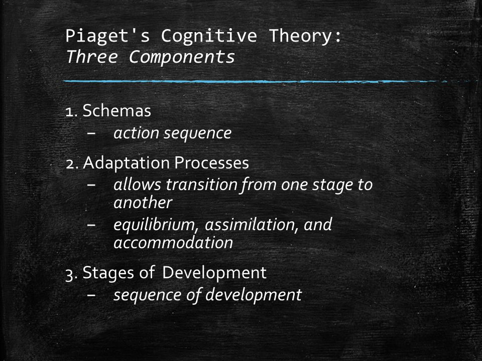 Piaget s Cognitive Theory: Three Components
