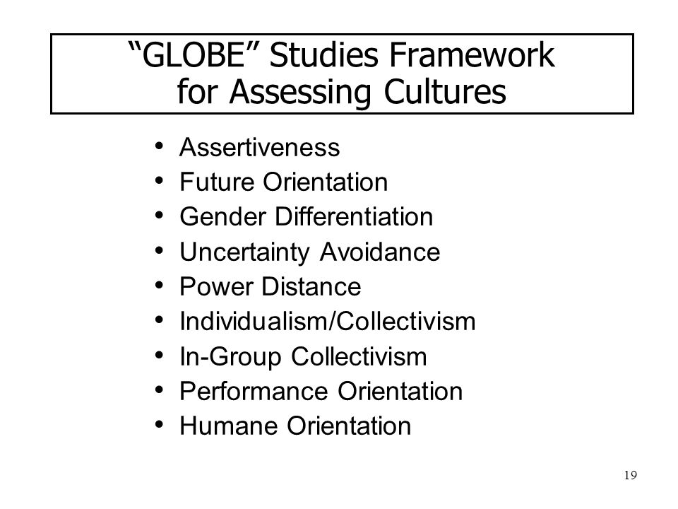 GLOBE Studies Framework for Assessing Cultures