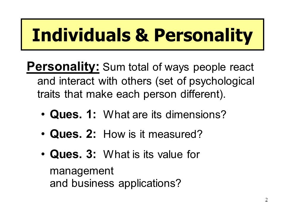 Individuals & Personality