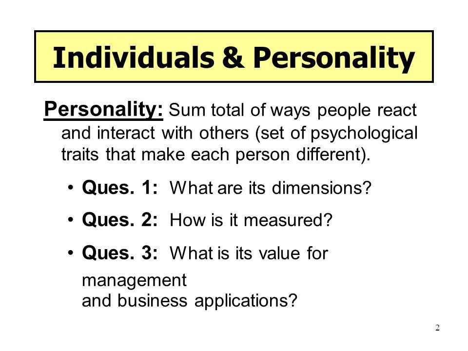 Individuals & Personality