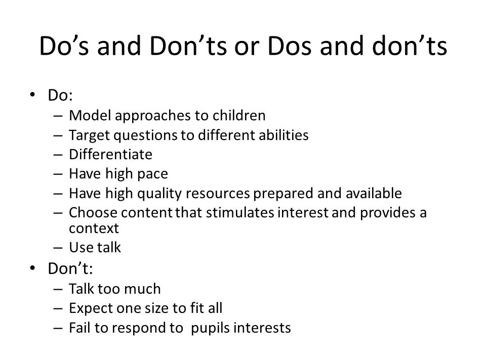 Do's and Don'ts or Dos and don'ts