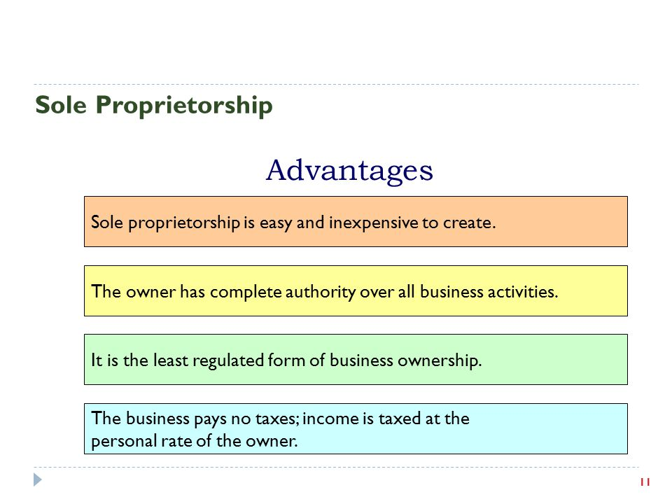 Advantages Sole Proprietorship