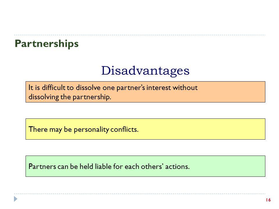 Disadvantages Partnerships