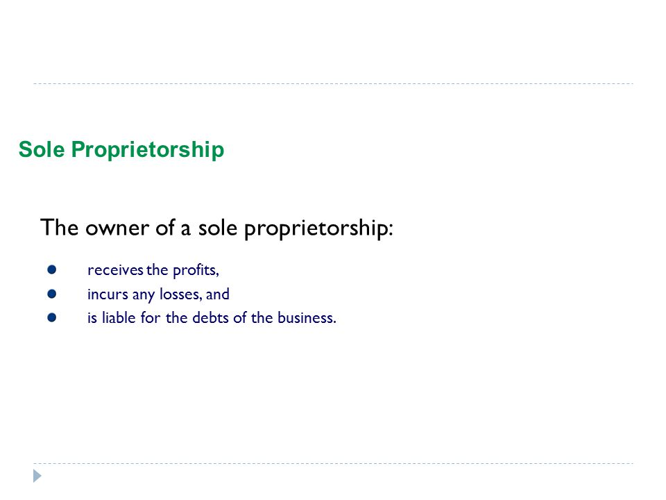 The owner of a sole proprietorship: