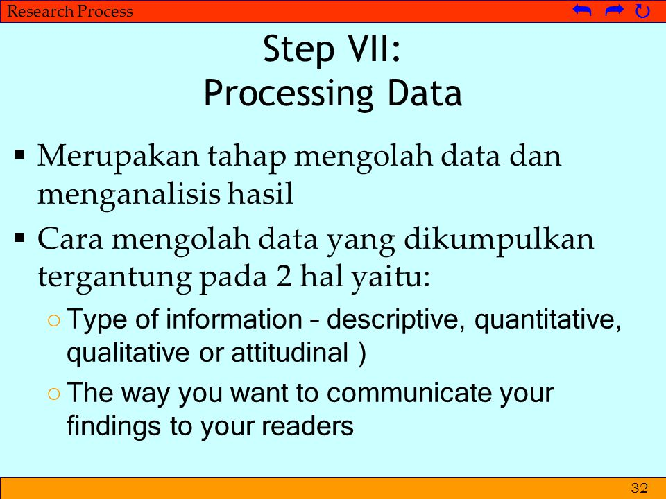 Step VII: Processing Data