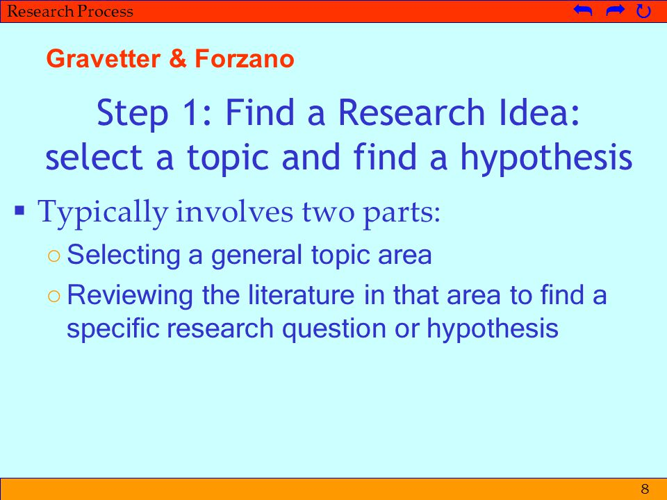Step 1: Find a Research Idea: select a topic and find a hypothesis