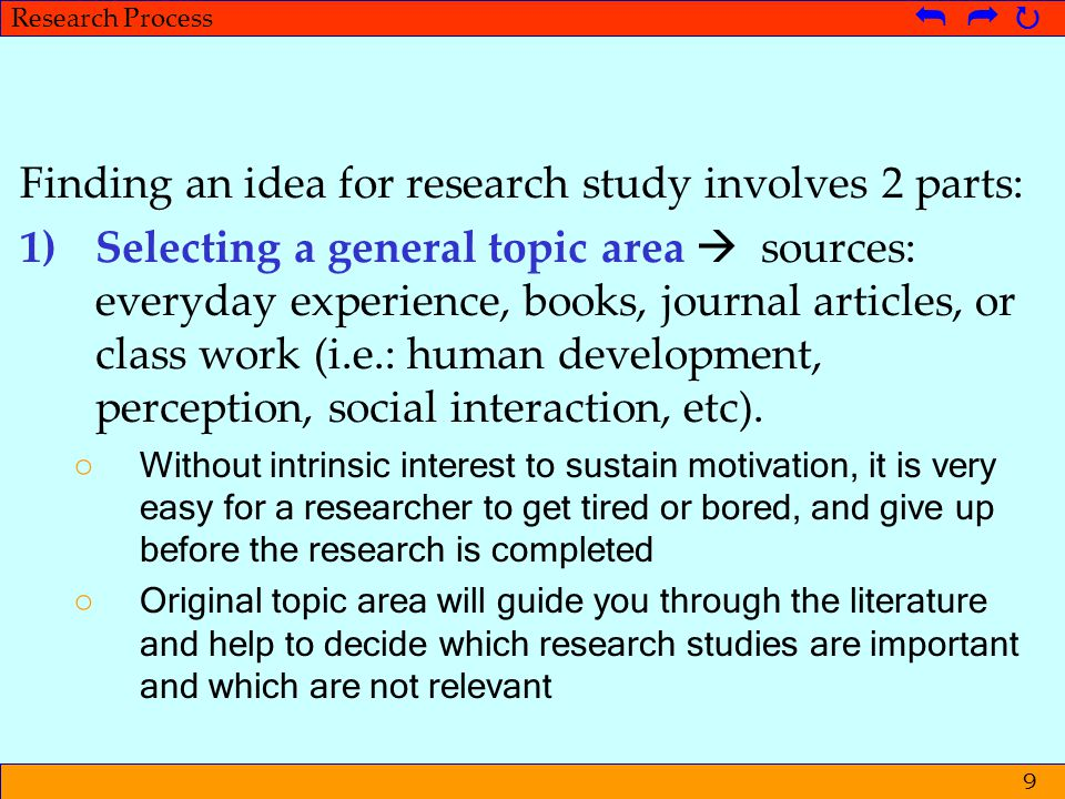 Finding an idea for research study involves 2 parts: