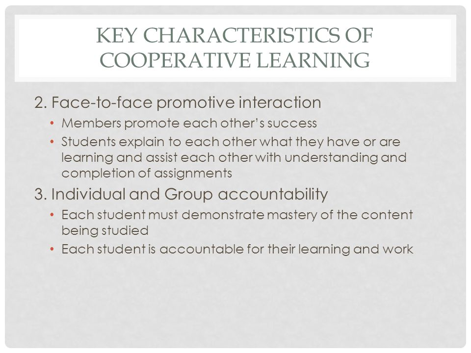 Key Characteristics of cooperative learning