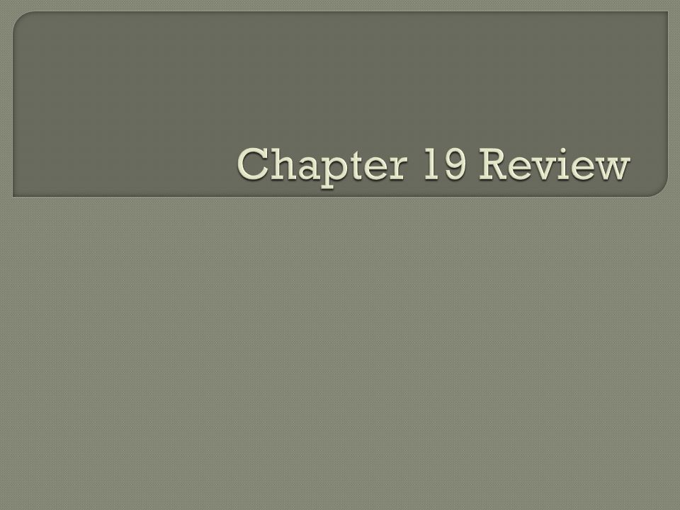 Chapter 19 Review