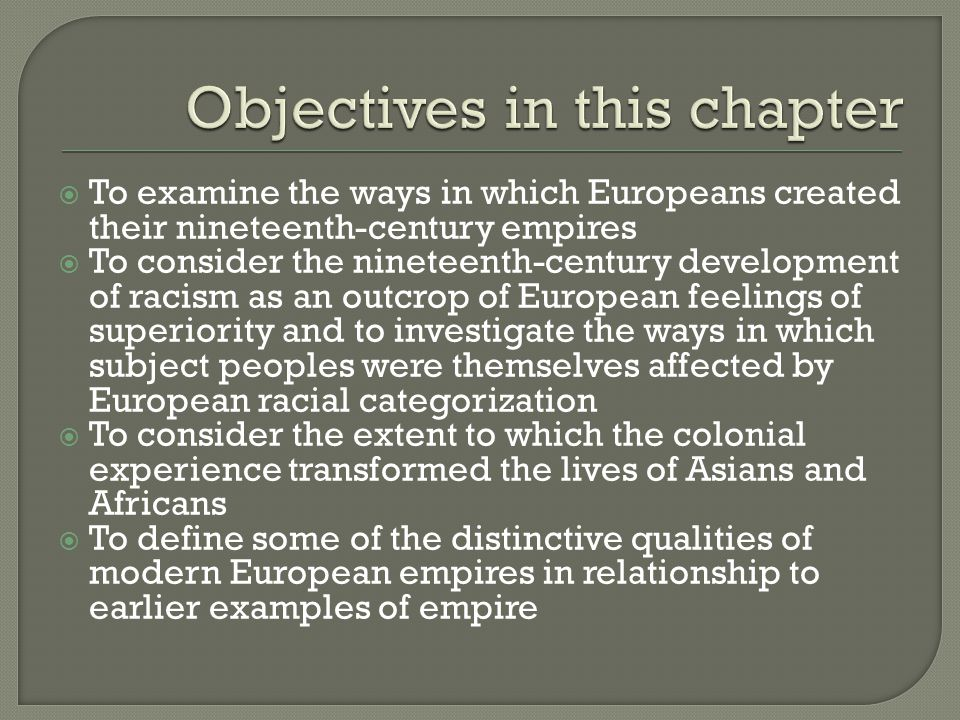 Objectives in this chapter