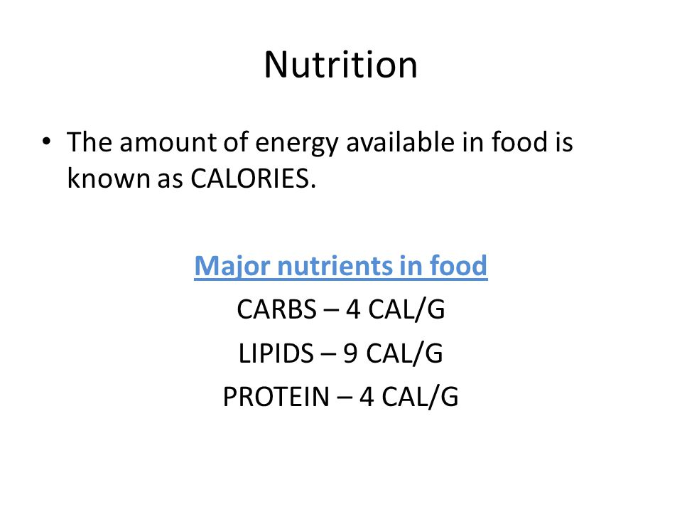 Major nutrients in food