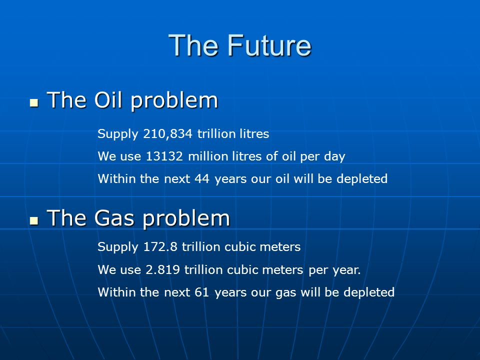 The Future The Oil problem The Gas problem