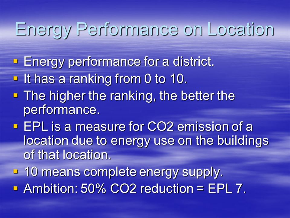 Energy Performance on Location