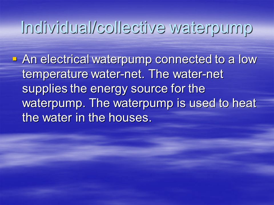 Individual/collective waterpump