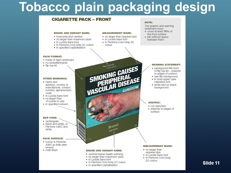 Tobacco plain packaging design