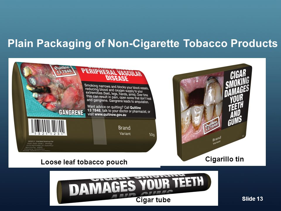 Plain Packaging of Non-Cigarette Tobacco Products