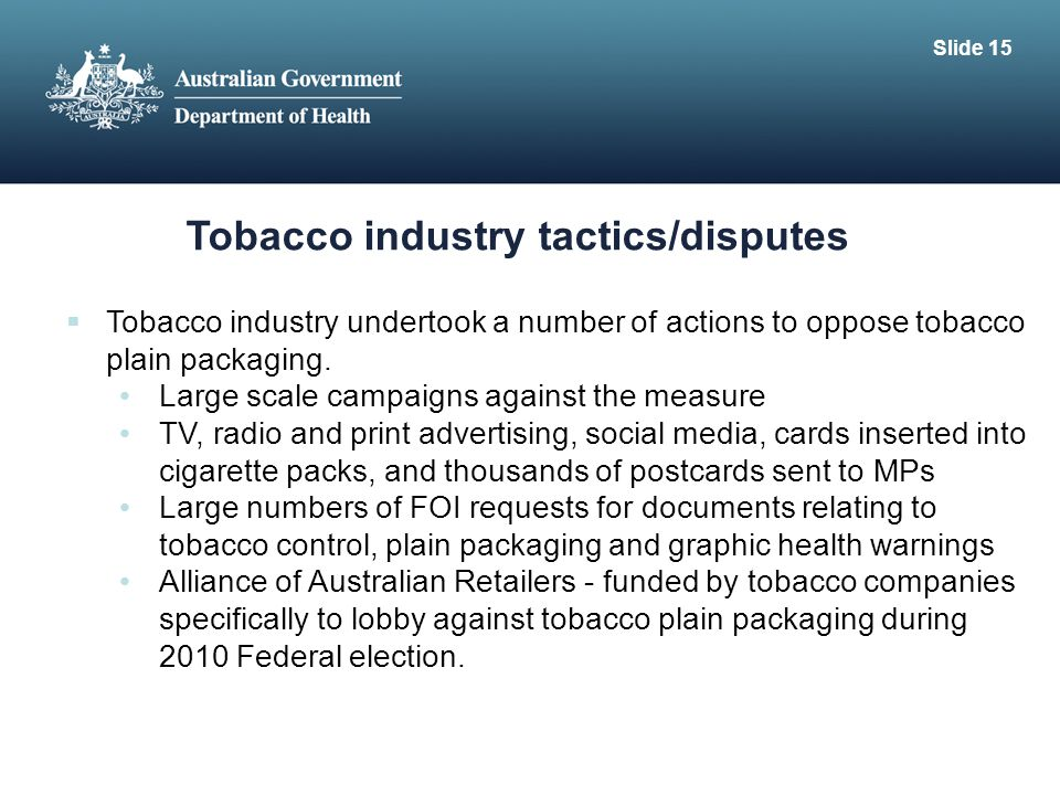 Tobacco industry tactics/disputes