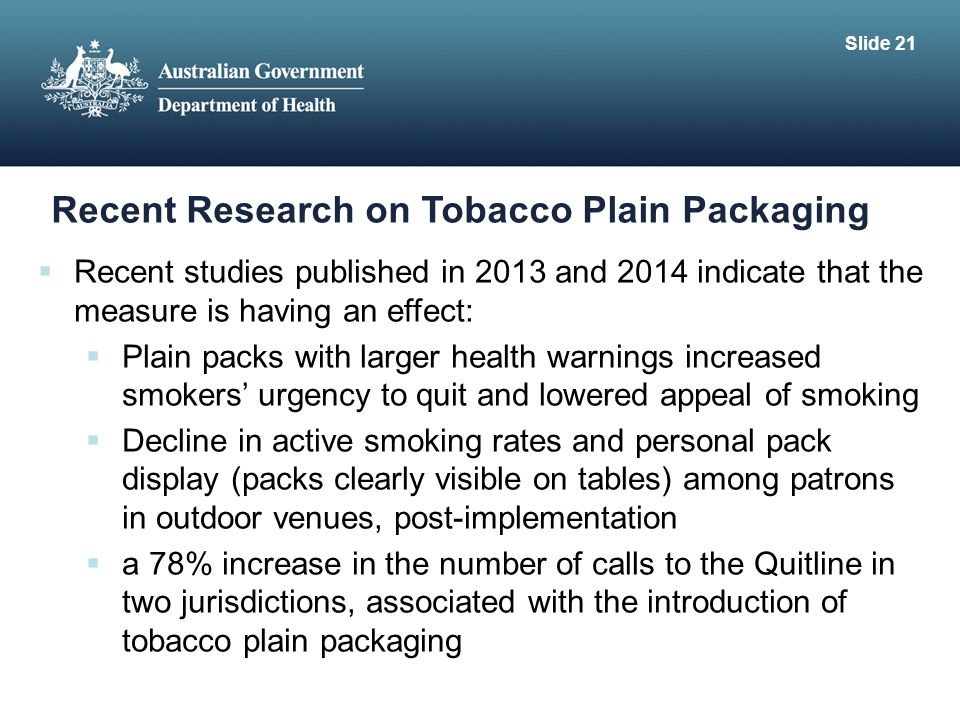 Recent Research on Tobacco Plain Packaging
