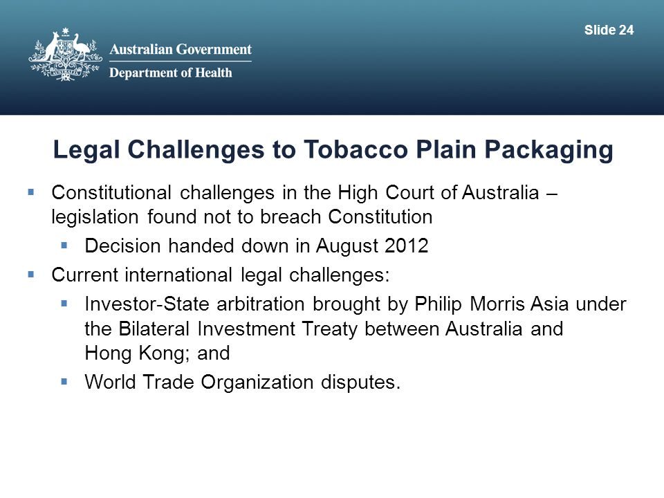 Legal Challenges to Tobacco Plain Packaging