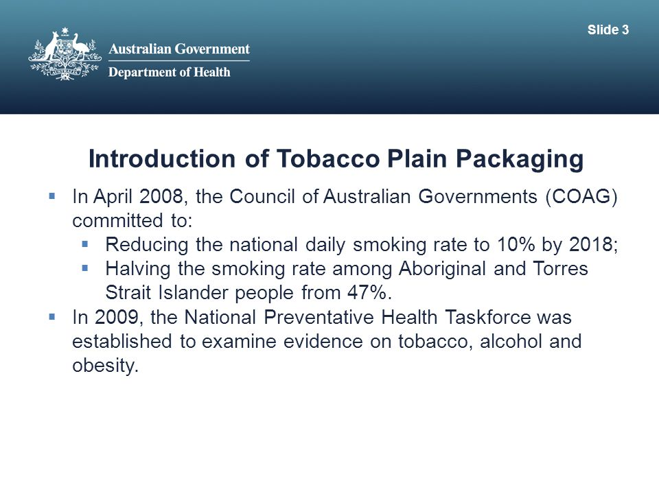 Introduction of Tobacco Plain Packaging