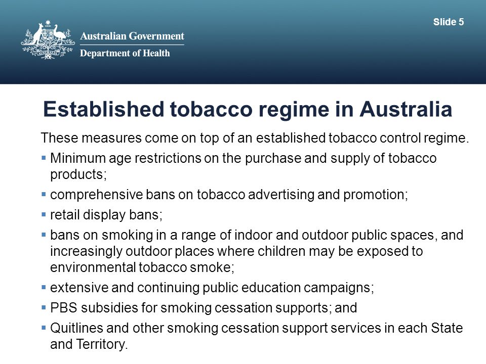 Established tobacco regime in Australia
