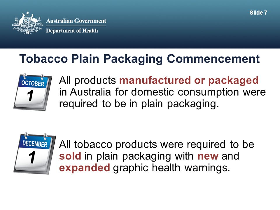 Tobacco Plain Packaging Commencement