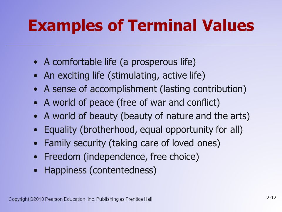 Examples of Terminal Values