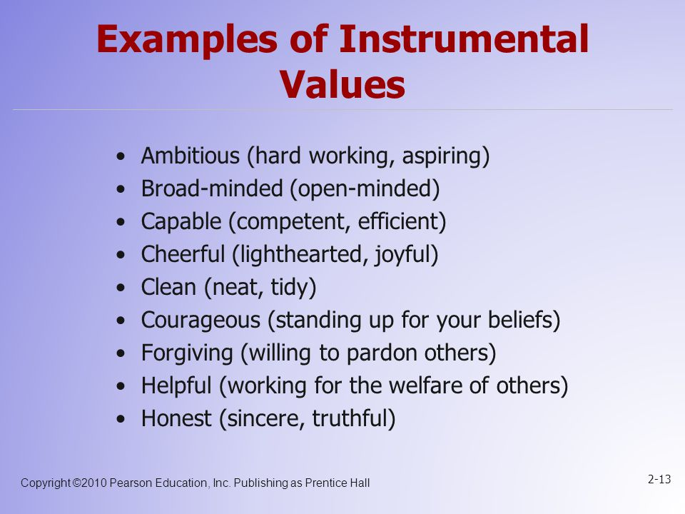Examples of Instrumental Values