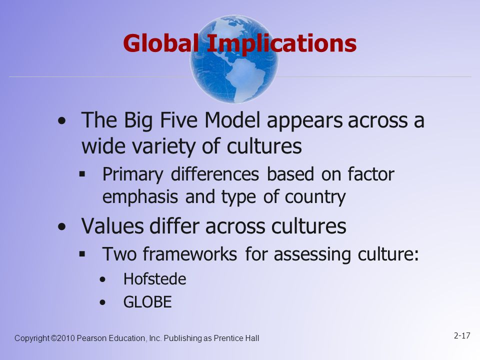 Global Implications The Big Five Model appears across a wide variety of cultures. Primary differences based on factor emphasis and type of country.