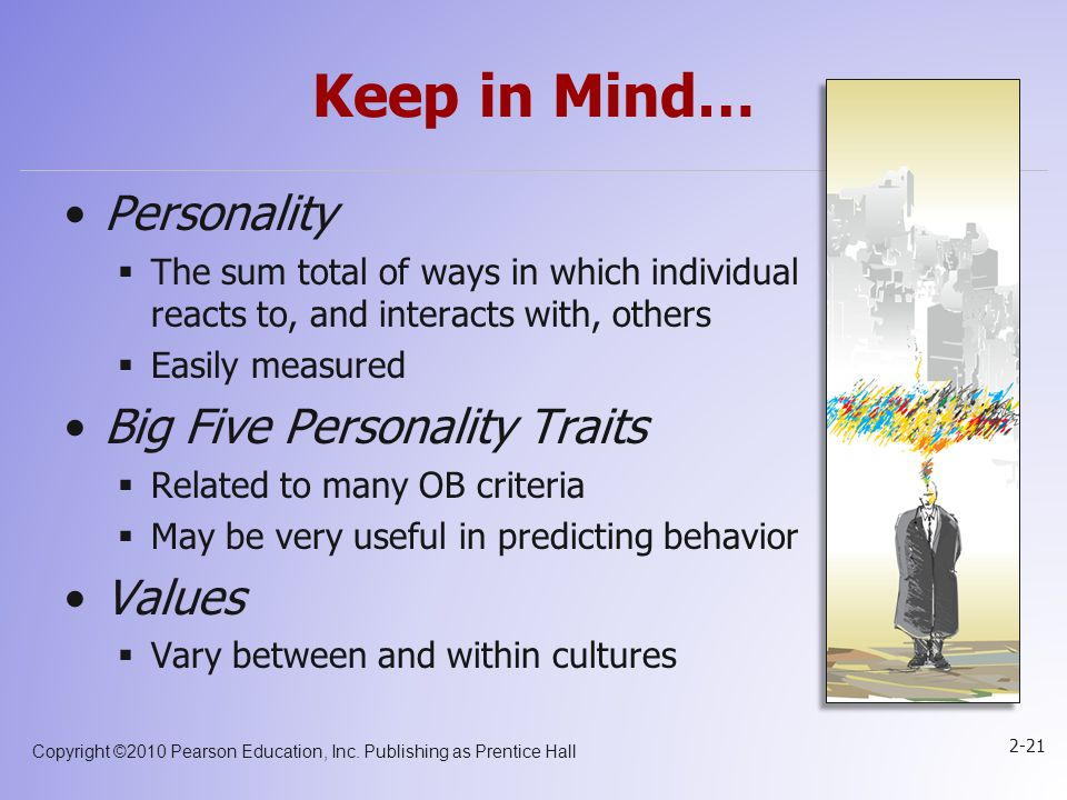 Keep in Mind… Personality Big Five Personality Traits Values