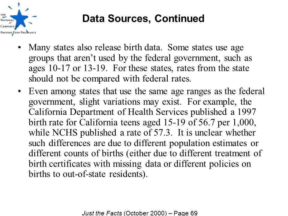 Data Sources, Continued