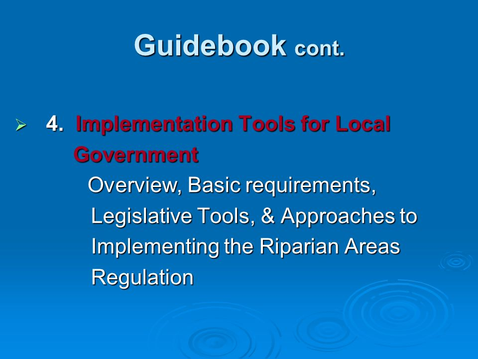 Guidebook cont. 4. Implementation Tools for Local Government