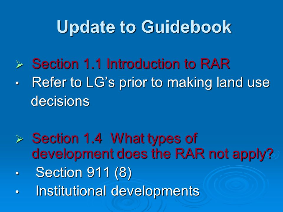 Update to Guidebook Section 1.1 Introduction to RAR