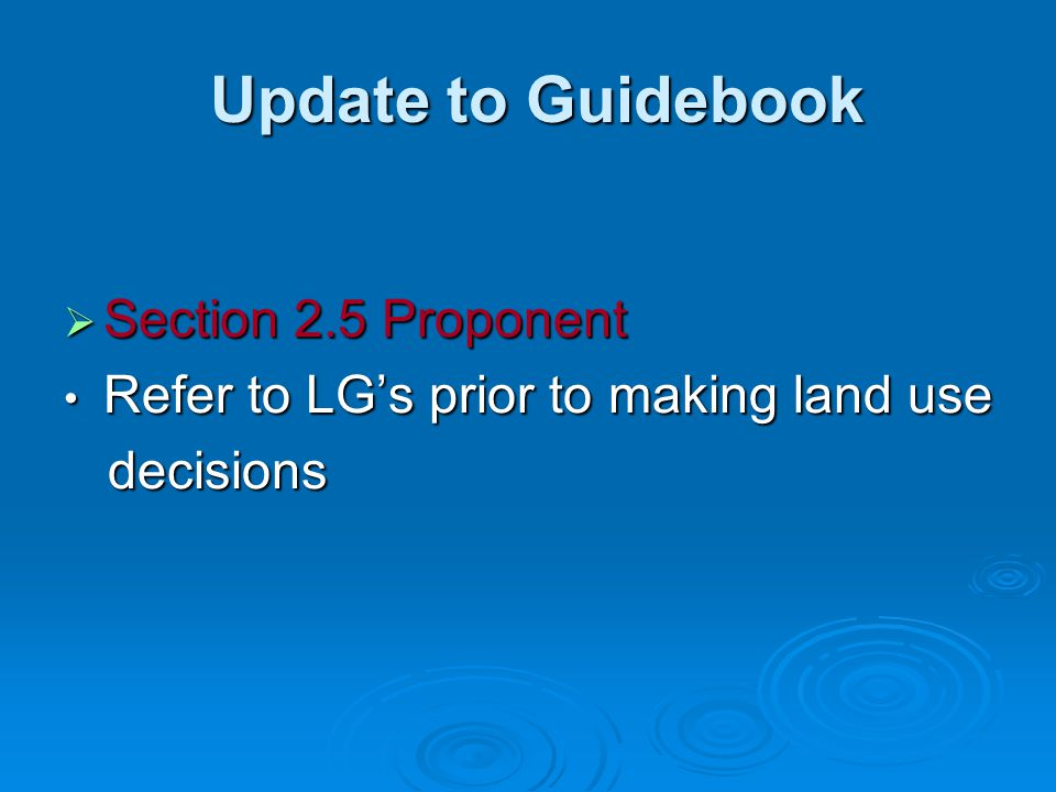 Update to Guidebook Section 2.5 Proponent