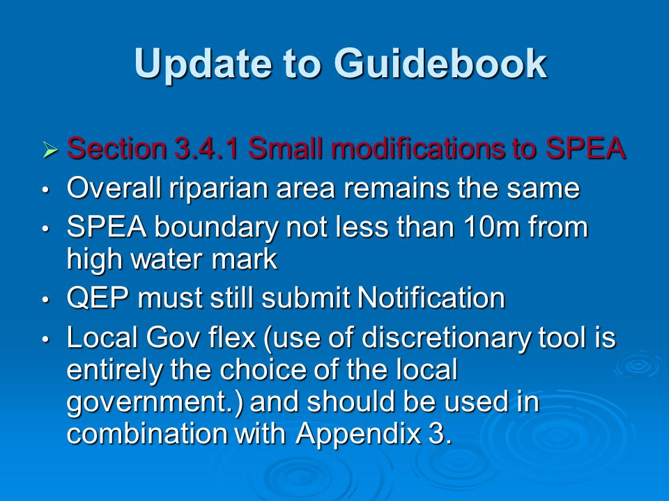 Update to Guidebook Section 3.4.1 Small modifications to SPEA