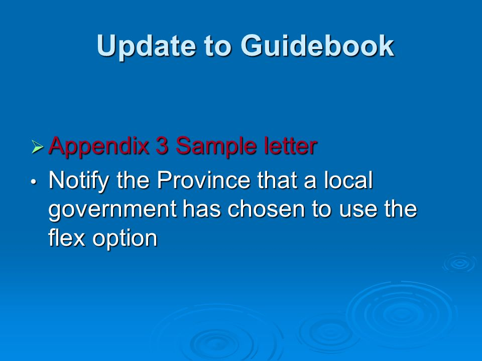 Update to Guidebook Appendix 3 Sample letter
