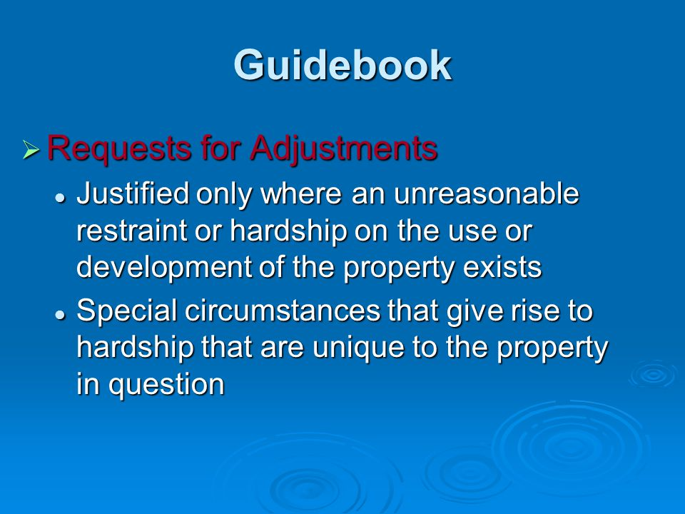 Guidebook Requests for Adjustments