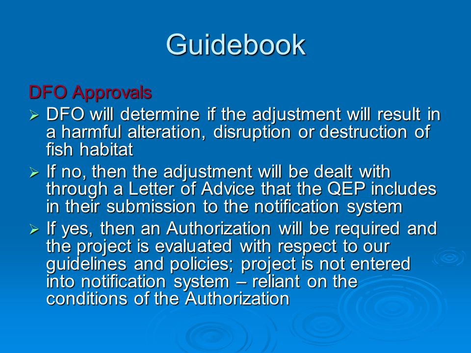 Guidebook DFO Approvals