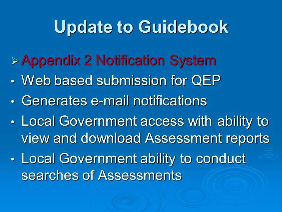 Update to Guidebook Appendix 2 Notification System