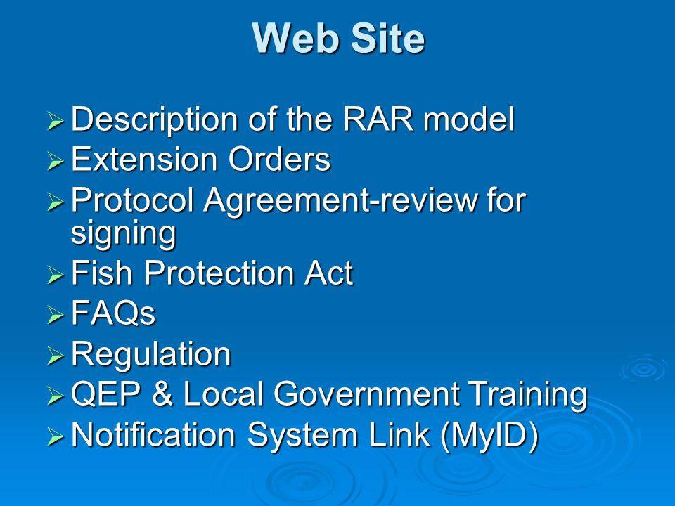 Web Site Description of the RAR model Extension Orders