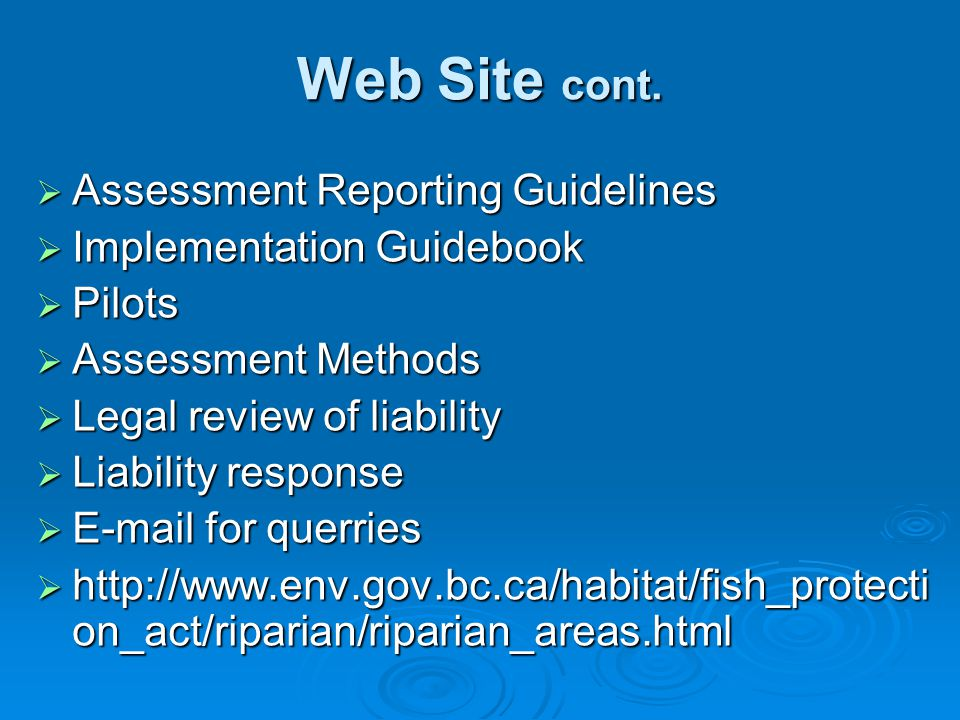 Web Site cont. Assessment Reporting Guidelines