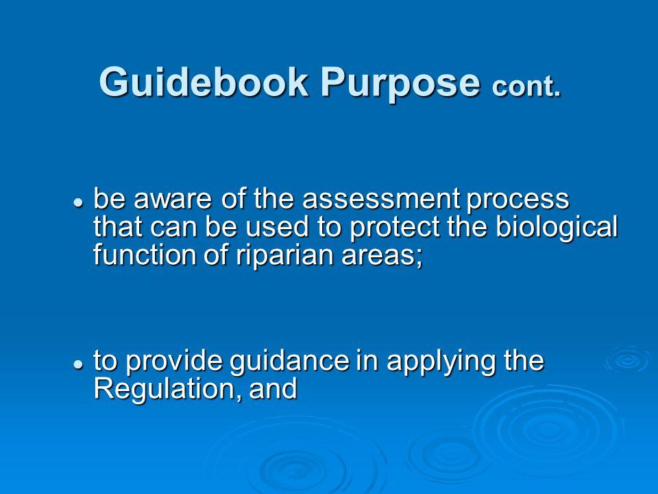 Guidebook Purpose cont.