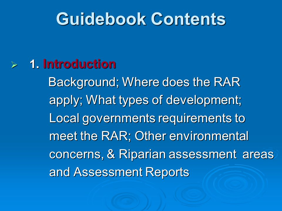 Guidebook Contents Background; Where does the RAR