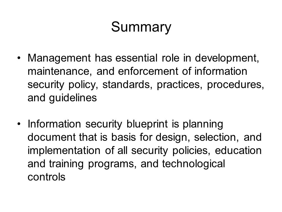 Information security blueprint ppt download 29 summary management has essential role in development malvernweather