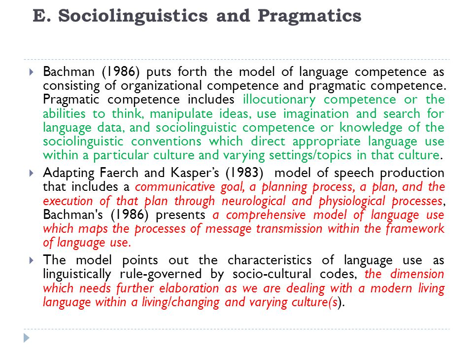 E. Sociolinguistics and Pragmatics