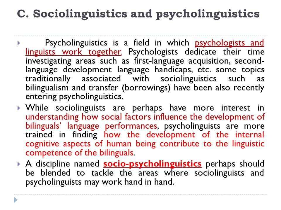C. Sociolinguistics and psycholinguistics