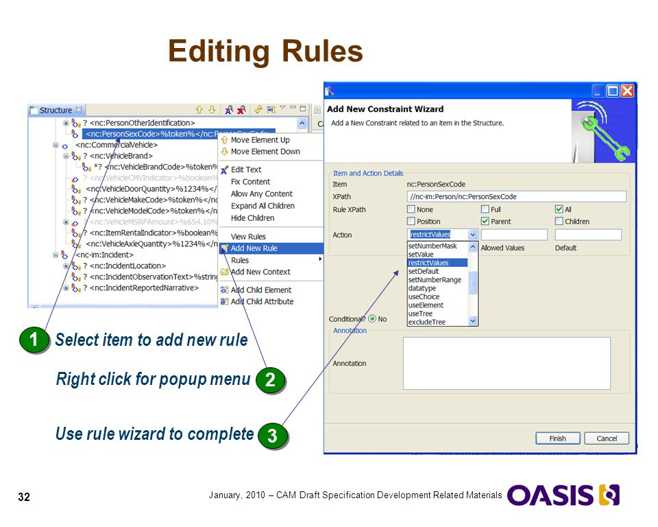 Editing Rules 1 Select item to add new rule Right click for popup menu