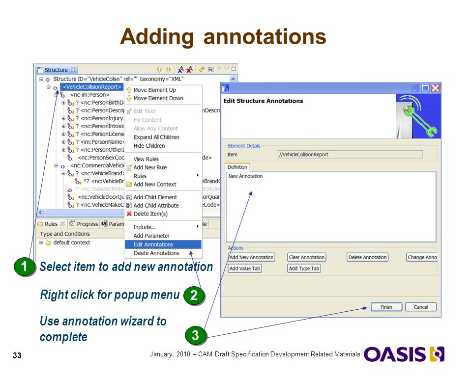 Adding annotations 1 Select item to add new annotation