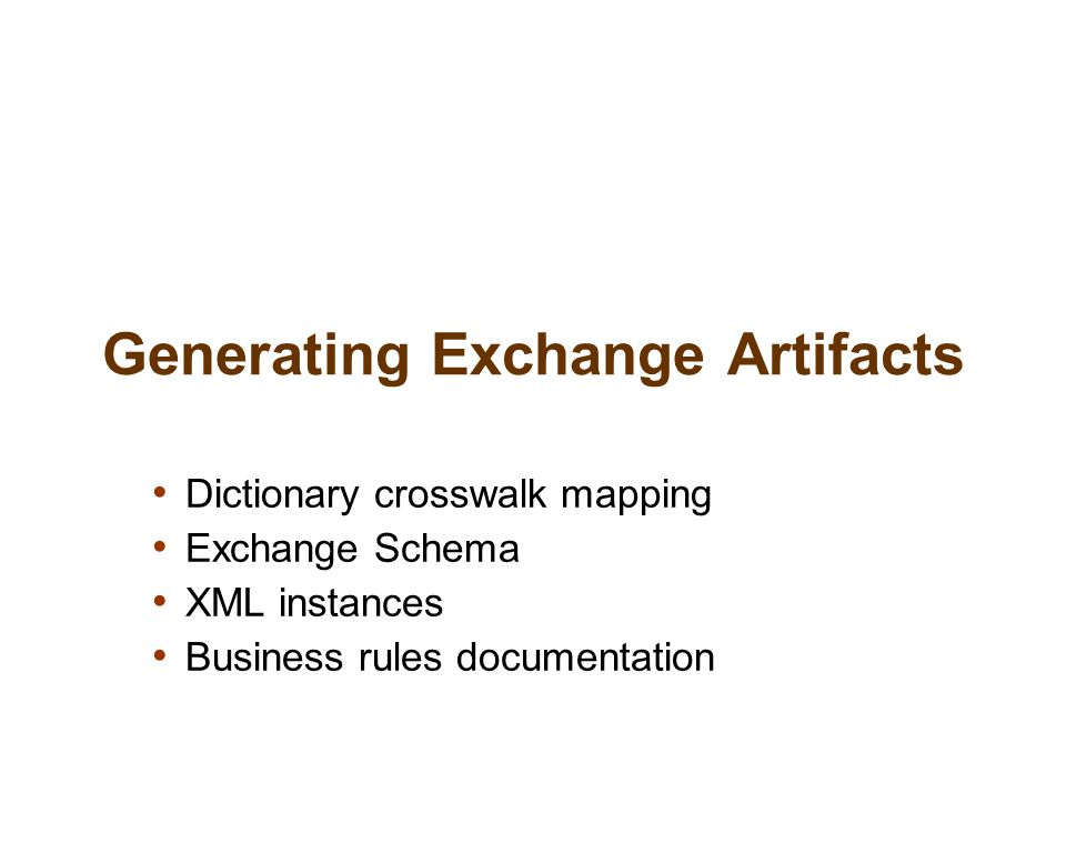 Generating Exchange Artifacts