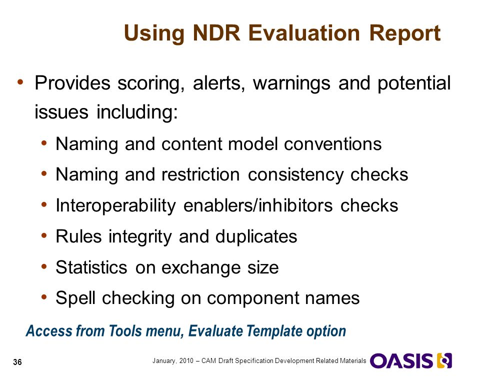 Using NDR Evaluation Report